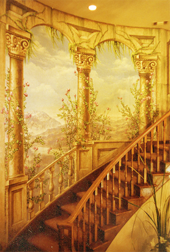 classic murals staircase trompe l 39 oeil murals. Black Bedroom Furniture Sets. Home Design Ideas
